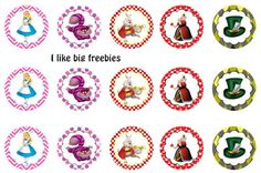 Freebies: FREE Alice in Wonderland bottle cap images Alice In Wonderland Printables, Alice In Wonderland Cupcakes, Alice And Wonderland Tattoos, Alice In Wonderland Tea Party Birthday, Bottle Top Crafts, Bottle Cap Projects, Mad Hatter Party, Mad Hatter Tea, Mad Hatters