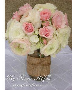 Wedding flowers and custom linens by My Flower Affair. www.myfloweraffair.com  wedding flowers, wedding decor, wedding flower centerpiece, wedding flower arrangement, bouquet