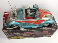 Vintage Tin Toy Space Patrol Car Rare R-10 Volkswagen Battery Operated JAPAN 395