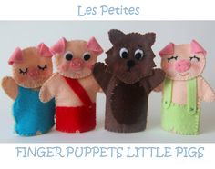 Three little pigs felt finger puppets by LesPetitesshop on Etsy Felt Puppets, Felt Finger Puppets, Hand Puppets, Three Little Pigs, Felt Patterns, Felt Toys, Business For Kids, Fabric Dolls, Softies