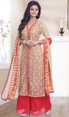 Achkan Style Cream with Resham Work Salwar Kameez Online ,Indian Dresses Pakistani Dresses, Indian Dresses, Indian Outfits, Punjabi Fashion, Indian Fashion, Palazzo Dress, Palazzo Suit, Achkan, Salwar Kameez Online