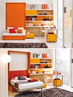 Love the orange one! - 10 Murphy Beds that Maximize Small Spaces via Brit + Co. Build A Murphy Bed, Murphy Bed Plans, Fold Out Beds, Folding Beds, Maximize Small Space, Small Spaces, Murphy-bett Ikea, Modern Murphy Beds, Bed Wall