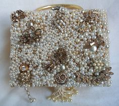 Beaded bridal purse, Victorian Noir wedding box purse, white and gold, vintage rhinestone jewelry, Haute Couture
