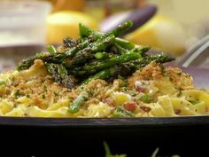 Carbonara-Style Tagliatelle with Grilled Asparagus and Lemon-Herb Breadcrumbs from FoodNetwork.com