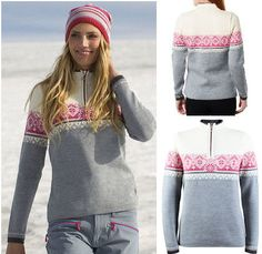 Dale of Norway Womans ST. MORITZ Pullover in Grey with Pink