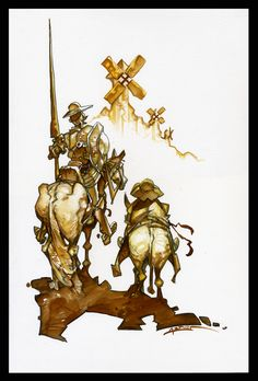Azpiri: Las siluetas más famosas de las letras castellanas, incluyendo la de los molinos al fondo. 'El Quijote' visto por 12 artistas de cómic españoles (06/dic/2016)