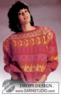 "Free pattern: DROPS jumper with pattern borders in ""Karisma Superwash"". Size S - L."