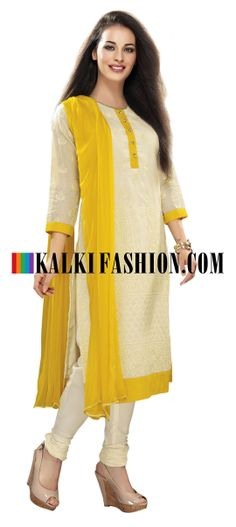 Buy Online from the link below. We ship worldwide (Free Shipping over US$100) http://www.kalkifashion.com/cream-straight-fit-suit-with-thread-work.html Cream straight fit suit with thread work