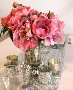 Silver Mercury Glass Cup For Floral Vase or Pillar Holder  Wedding Centerpieces   Hassle Free Shipping