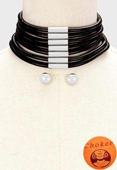 PIERCED-SILVER & BLACK CORDED CHOKER & EARRINGS  $12.74 https://hipandcoolcliponearringstwo.com