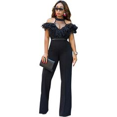 9bd3d06ab52d Wide Leg Jumpsuits Halter Off Shoulder Elegant Lace Ruffles Jumpsuit  Backless Hollow Out Sexy Rompers Womens