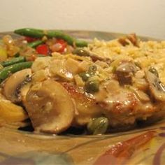 Romantic Chicken with Artichokes and Mushrooms.  Made this the other night for dinner and it was delicious!  I cut my chicken up before I cooked it, and I added cream at the end (I did cashew cream but normal cream would work).  Other than that followed the recipe.  Served it over rice.  YUM!