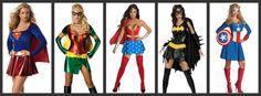 halloween group costumes for girls | Supergirl / Robin / Wonder Woman / Batgirl / Captain America