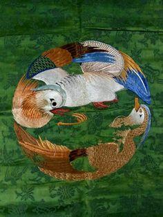 Mid 19th c. Japanese green silk fukusa (damaged), mandarin ducks pair embroidery 1