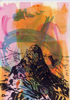titulo -el pilón de portalet  obra en tecnica mixta sobre tela  medidas 300 x 180 cm año 2015 autor -ARRUDI ART