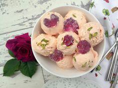Bastani: Persian Rose and Vanilla Ice Cream with Cream Chunks and Sugar-Coated Rose Petals