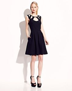 DRESS WITH NECKLINE CUTOUTS BLACK ready to wear dresses no classes fashion #betseyjohnson