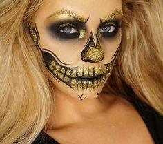 Black and Gold Glitter Skeleton Makeup for Glam Halloween