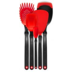 Set Of The Best Red ($63) ❤ liked on Polyvore featuring home, kitchen & dining, kitchen gadgets & tools, mini spoons, red spoon, miniature spoons, mini ladle and red ladle