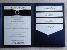 Royal Dark Blue Shimmer Wedding Invitations DIY Pocket Fold Envelopes  Invite C | EBay