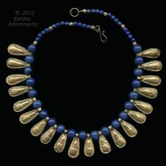 Ancient Egyptian reproduction necklace of lapis lazuli beads and Ethiopian gold-washed scarabs