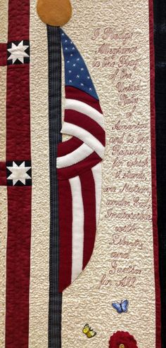 detail,  Patriotic Primitive Garden by Wanda Nabors,  quilted by Karen Denney, photo by Diary of a Quilt Maven.
