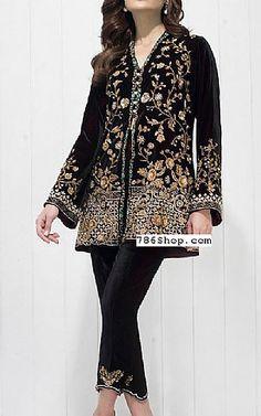 Black Velvet Suit   Buy Pakistani Fashion Dresses and Clothing Online in USA, UK Pakistani Designer Clothes, Pakistani Dresses Online, Indian Designer Outfits, Pakistani Suits, Stylish Dresses, Trendy Outfits, Fashion Dresses, Fashion Clothes, Embroidered Clothes