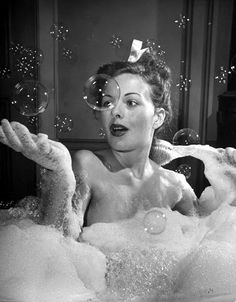 """Actress Jeanne Crain takes a bubble bath for her role in the film """"Margie"""". Actress Jeanne Crain takes a bubble bath for her role in the film """"Margie"""". Bubble Bath Photography, Boudoir Photography, Photography Ideas, Photography Shop, Photography Hashtags, Photography Backgrounds, Summer Photography, Photography Lighting, Photography Backdrops"""