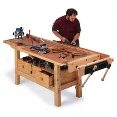 Budget Workbench Downloadable Plan - You'll get a top that can stand up to significant abuse, a sturdy, heavy base that keeps the bench planted where you put it, and an end vise and T-track system for holding workpieces as well as a variety of unique jigs.