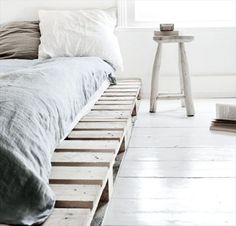 We've been wanting to change our bed for awhile now. I woke up this morning and decided I wanted a pallet bed so we're making one! Check out the results at http://www.stylescene.com.au/how-to-build-your-own-pallet-bed #DIYReady Pallet bed frame: