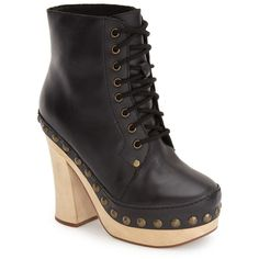 Jeffrey Campbell 'Loki' Studded Platform Boot (Women) ($80) ❤ liked on Polyvore featuring shoes, boots, black, black platform boots, black high heel shoes, high heel platform boots, black shoes and laced boots