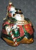 Fitz & Floyd Blown Glass Snowman with Boy Large Ornament