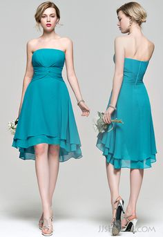 Asymmetrical jade bridesmaid dress,this color is so perfect for your girls.   #JJsHouse #JJsHouseBridesmaidDress