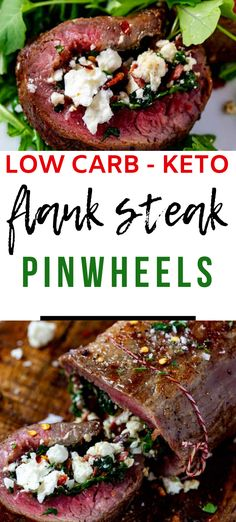 This Low Carb Keto Flank Steak Pinwheels is shockingly delicious! With just a handful of ingredients, these pinwheels are easy enough to make on a weeknight, but the presentation and taste is worthy of a special occasion. Try them once, and you will be hooked! Low Carb, Gluten Free
