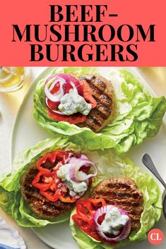 Blending finely chopped mushrooms with ground beef adds great flavor, moisture, and even fiber to these no-bun burgers. Grilling Recipes, Cooking Recipes, Healthy Summer Recipes, Healthy Options, Whole Wheat Pita, Mushroom Burger, Clean Eating, Healthy Eating, Grilled Beef