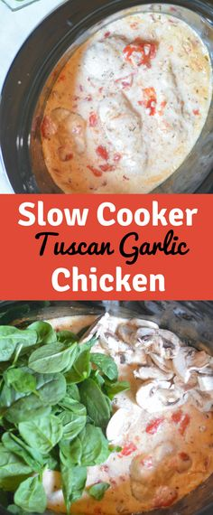 Tuscan Garlic Chicken in the slow cooker is incredibly delicious and so easy to make! Perfect family dinner for a busy weeknight.
