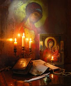 Still Life with icons, books and candles Orthodox Prayers, Orthodox Christianity, Russian Painting, Russian Art, Saint Philomena, Meditation Altar, Bride Of Christ, Byzantine Icons, Orthodox Icons