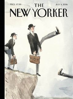 """The New Yorker - Monday, July 2016 - Issue # 4645 - Vol. 92 - N° 20 - Cover """"Silly Walk Off a Clift"""" by Barry Blitt - Brexit The New Yorker, New Yorker Covers, Print Magazine, Magazine Art, Magazine Covers, Magazine Design, Illustrations, Illustration Art, Art Editor"""