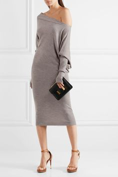 TOM FORD Off-the-shoulder cashmere and silk-blend midi dress $1,890 TOM FORD's dress has a relaxed off-the-shoulder silhouette – a brand signature. Spun from cashmere and silk-blend, this midi style has a slouchy fit through the bodice and narrow sleeves. Accessorize yours with a clutch and strappy sandals.