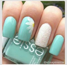 Combine with the Essie nail polish color and use a tool to make the sunflower on the nail! Then sprinkle glitter on one of the nails and your done!!