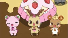 Jewelpet - pink bear, brown bunny, brown pet