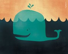 Lil' Mr. Whale Art Print by LilBurritos on Etsy, $15.00