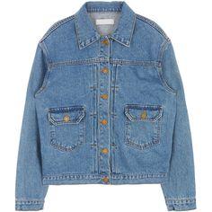 Denim Blend Button-Down Jacket (165 ZAR) ❤ liked on Polyvore featuring outerwear, jackets, pocket jacket, denim jacket, button down jacket, button up jacket and blue denim jacket
