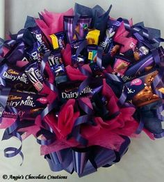 Chocolate Basket, Chocolate Hampers, Chocolate Bouquet, Sweet Bouquets Candy, Candy Bouquet, Happy Birthday Valentine, Birthday Gifts, Valentines, Sweet Trees