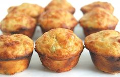 Spicy Jalapeño-Cheddar Mini Muffins from King Arthur Flour. Be generous with jalapeno if you like some kick and best served right out of the oven - yummy! Savory Muffins, Mini Muffins, Cheese Muffins, Quick And Easy Appetizers, Holiday Appetizers, Pudding Desserts, Jalapeno Cheddar, Cheddar Cheese, Muffin Tin Recipes