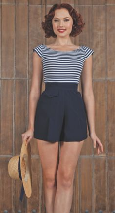 cute nautical top to match a pair of high waisted shorts from Stop Staring Clothing. Must have!!