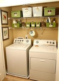 Small Laundry Room... Pictures next to window... Maybe use metal tin idea...and a counter top over the washer and dryer since I have front loaders