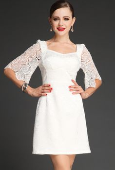 White Hollow Half Sleeve Backless Bodycon Dress US$59.99