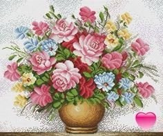 Pink roses and other flowers in gold vase Cross Stitch Bird, Cross Stitch Flowers, Counted Cross Stitch Patterns, Cross Stitch Designs, Cross Stitching, Cross Stitch Embroidery, Embroidery Patterns, Antique Roses, Christmas Art