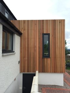 vertical western red cedar and white render on Milngavie extension design by Milngavie architects Extension Designs, Western Red Cedar, Restaurant Design, Glasgow, Architects, Facade, Outdoor Decor, Home Decor, Decoration Home